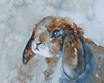 for her woodland nursery decor art PRINT of rabbit painting of rabbit wall hanging boy girl animal watercolor bunny blue brown square 5x5