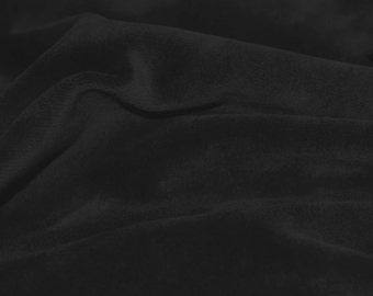 Black Soft Cotton CVC Velour Cotton Polyester Fabric by Yard- Style 9001