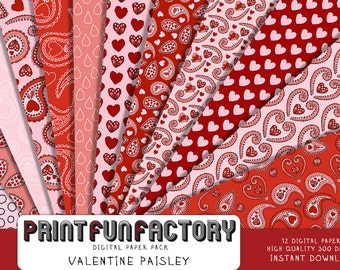 Valentine digital paper - Paisley Valentine love  background paper  - 12 digital papers (#179) INSTANT DOWNLOAD