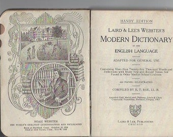 Laird & Lee Webster's modern dictionary leather mini reference book 1918