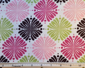 Brother Sister Design Studio Fabric * Raspberry, pink, lime, brown and cream fabric * 100% Cotton fabric * 3/8 Yard
