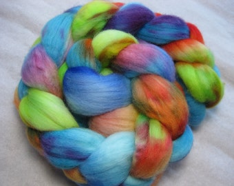 Playful 1b - Organic merino roving in lime, orange and turquoise with purple splashes