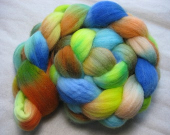 Playful 2b - Organic merino roving in lime, orange and turquoise