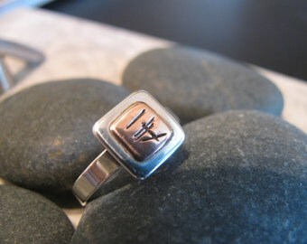 Sterling Silver with Copper Ring Sz 7-8,Size 7-8,Hand Stamped, Soldered, One Of A Kind, Unique, Toniraecreations