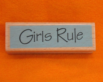 Girls Rubber Stamp Quote Craft Rubber Stamp Girls Rule Stamp Gift Wrapping Packages