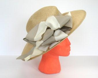 Straw Hat Womens B Michael Woven Straw Summer Hat Striped Bow
