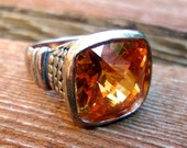 Madeira Citrine Cushion-Cut Faceted Sterling Silver Ring, Decorated Shoulder Band, Vintage sz 6.5
