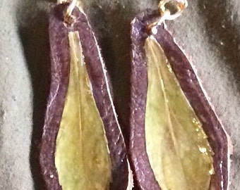Small pressed leaf earrings