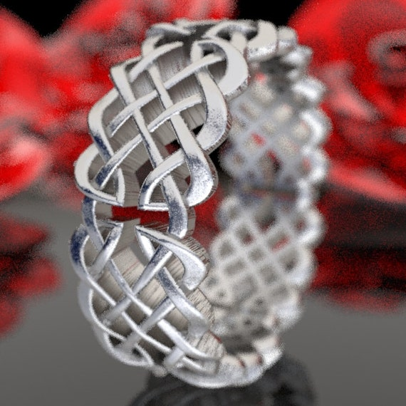 925 Sterling Silver Woven Ring, Celtic Knot Ring, Infinity Wedding Band, Mens Wedding Ring, Celtic Knotwork, Hand Crafted Rings CR-1041