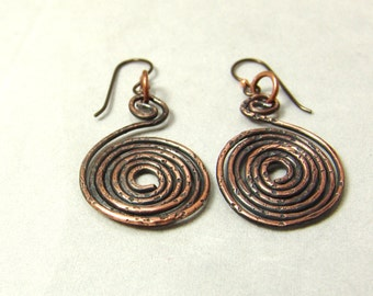 Copper Wire Earrings, Oxidized Copper Earrings, Copper Spiral Earrings, Spiral Earrings, Rustic Earrings
