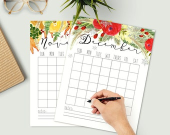 Printable Yearly Calendar - Set of Twelve Calendar Pages - Blank - Personal Organizer - Business - Office Planner - Floral Calendar