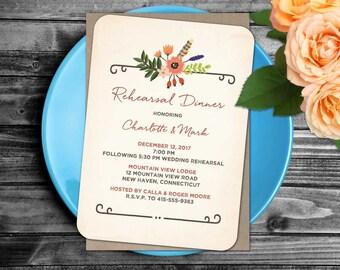 Woodland Floral Rehearsal Dinner Invitation