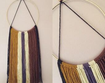 Handmade Brass Hoop Woven Yarn Macrame Wall Hanging