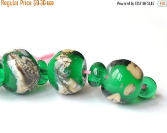 ON SALE Green Beads Silver Glass Free Form Lampwork Beads