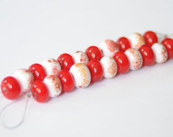 Glass Lampwork Beads Set Rondelle White Red