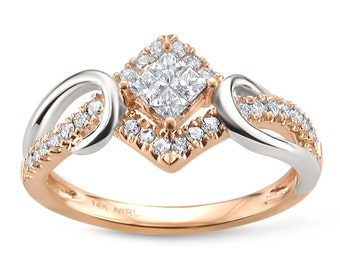 14k Two-Tone White & Rose Gold Princess-cut and Round Diamond Bridal Engagement Ring (3/8 cttw, I-J, I1-I2)