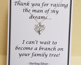 Thank You Gift for Mother of Groom or Mother of Bride Family Tree Quote Sterling Silver Necklace