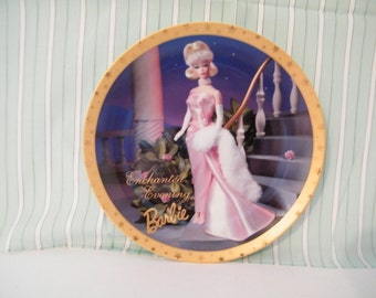 Enchanted Evening Barbie Collector Plate,  vintage 1995 by  Enesco Number 1111 Ltd edition  pink gown,  Doll Collectors -
