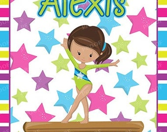 Girl Gymnastics Green & Blue Brown Hair Personalized Notebook Steno Pad or Notepad Journal
