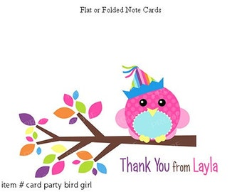Pink Bird Party Thank You Personalized Note cards Stationery Set of 10 flat or folded notecards