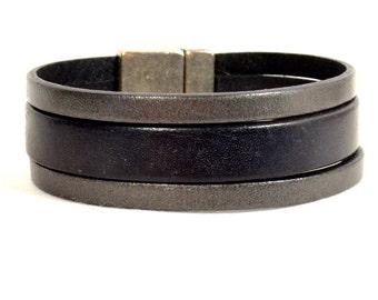20mm Black and Metallic Pewter European Leather Cuff Bracelet (20-012)