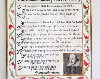 Shakespeare Sonnet 18 Calligraphy Art 1960 Artist Signed Poetry