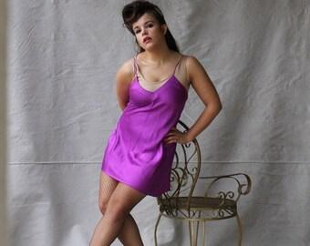 SEXY 50% OFF SALE Vintage Victoria's Secret Sexy Posh Purple 100 Percent Sillk Short Lingerie Gown small/medium