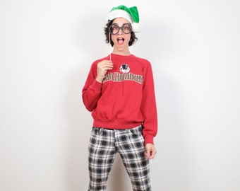 Vintage 80s Ugly Christmas Sweater Party Bah Humbug Hipster Tacky Christmas Sweater Gold DOG Print Ugly Xmas Sweater Jumper Tshirt S Small M