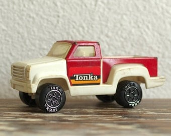 1979 Red & White Tonka Pick-up Truck | Metal and Plastic | Made in Hong Kong