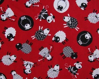 Cotton Fabric, Timeless Treasures ,  Black and White Sheep on Red, Quilting cotton, Craft Cotton