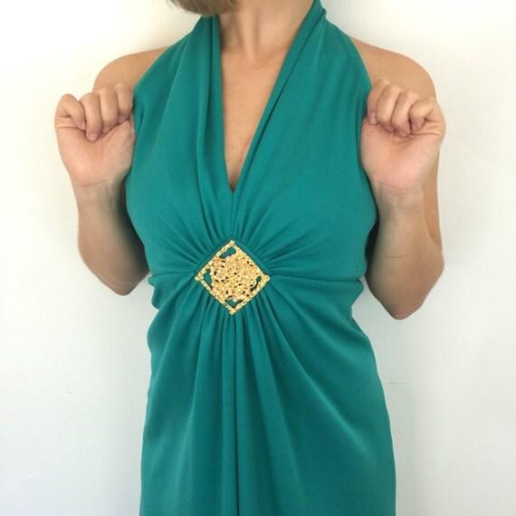 Vintage maxi dress kelly green long gold midcentury pendant A line gown 1970s disco dress jade green Deep V neckline UK 8 US 4