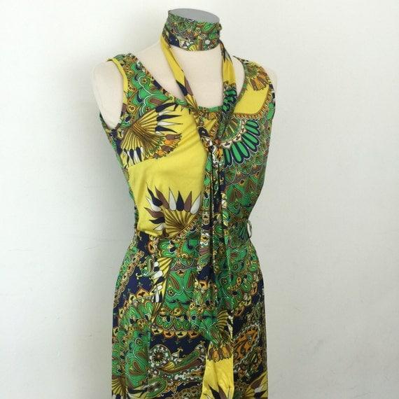 70s maxi dress look skirt and vest psychedelic paisley long maxi skirt hippy festival flower power UK 10 festival boho folk woodstock dress