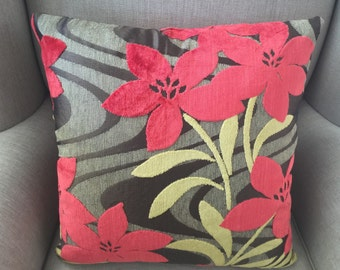 Cushion Cover/Pillow in Bright Floral Velvet Upholstery Fabric. Red, Green and Shades of Grey