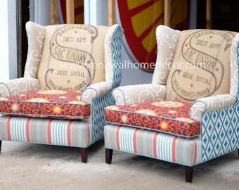 "Custom Order- Upholstered Vintage Wingback Club Chairs - ""Fiesta Sac Union Wingbacks"" - Price per Chair"