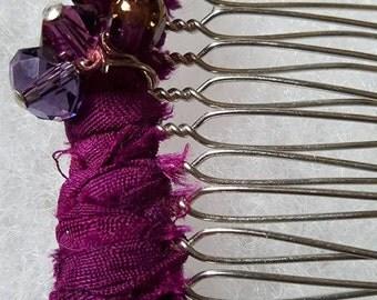 Sari Silk Covered Hair Comb