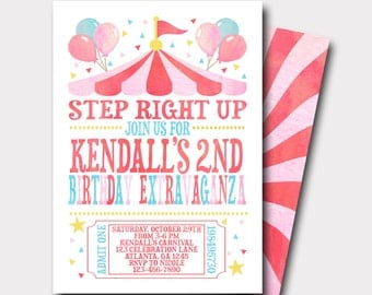 Carnival Birthday Invitation | Circus Birthday Invitation | Birthday Extravaganza | Sweet Celebration | First Birthday