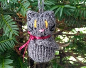 Small Stuffed Dark Gray Kitten Ornament, Hand Knit, Hanging Decoration, Christmas Tree Trim, Rustic Decor, All Year Decoration