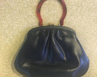 Navy Blue Patent Purse with Bakelite Handle