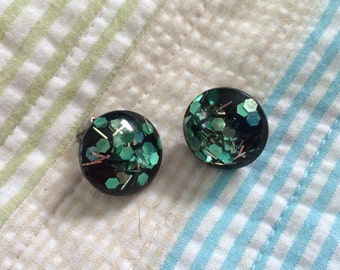 Lucite and confetti clip on earrings
