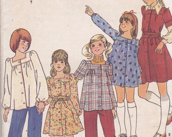 Butterick 4387 Vintage Pattern Little Girls Tunic Top or Tunic Dress Size 14 UNCUT