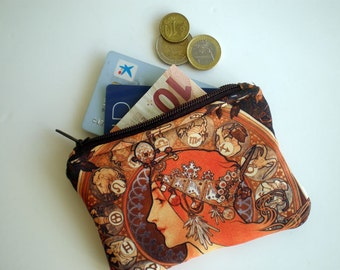 Coin purse, Small zipper pouch, Card wallet, Gift idea, Art Nouveau, Alphonse Mucha art