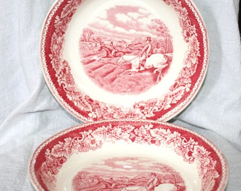 Vintage Pair of Homer Laughlin Transferware Bowls Fox Hunting Full Cry Currier and Ives Scene