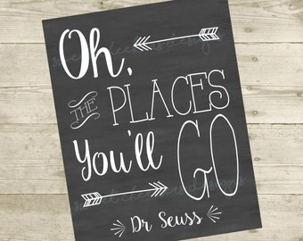 Oh, the Places You'll Go Dr Seuss Inspired - 8x10 DIGITAL FILE