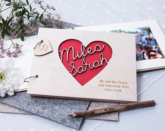Personalised Heart Guest Book - Wooden Guest Book - Alternative Guest Book - Rustic Guest Book - Gift for Couples - Wedding Keepsake - Heart