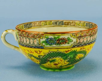 4 Person Victorian Antique China TEA SET Dragons Early 1900s Chinese Coffee Yellow Spectacular Cup LS