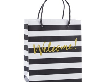 12 Classic Black and White Striped Welcome Bags Wedding Gifts Bags Bridal Shower Gift Bags Bridesmaid Gifts