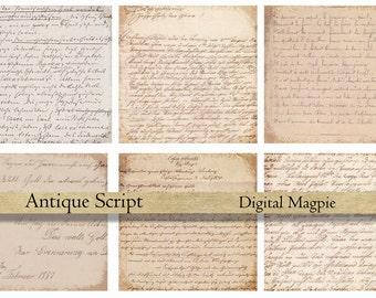 Antique Script digital paper pack printable scrapbook old paper vintage background grunge aged wrinting instant download  12x12