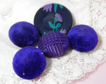 Purple Fabric Buttons - 5