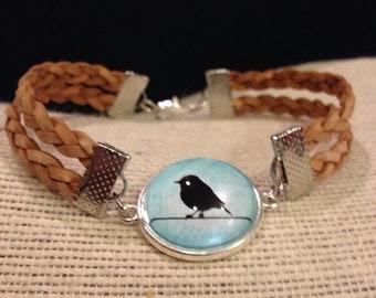Bird On A Branch Photo Cabochon DoubleBraided Heart Bracelet