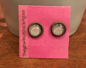8mm Glass Pink&Teal Kaleidoscope Stud Earrings